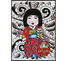 Ichimatsu ningyo, maneki neko and daruma doll  Photographic Print