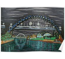 Tyne Quayside at night Poster
