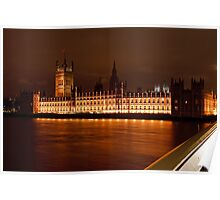 Houses of Parliament at Night from Westminster Bridge Poster