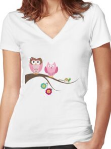 Couple owls Women's Fitted V-Neck T-Shirt