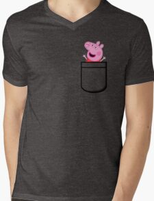 Peppa Pig Pocket Mens V-Neck T-Shirt