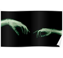 The Creation of Adam (Michelangelo) two hands under x-ray Poster