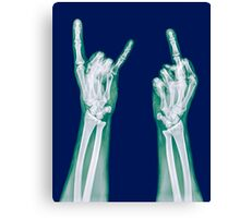 x-ray of a human hand making obscene hand gestures  Canvas Print