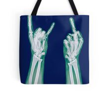x-ray of a human hand making obscene hand gestures  Tote Bag