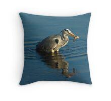 Grey Heron with Fish Throw Pillow