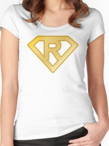 Golden superman letter Women's Fitted Scoop T-Shirt