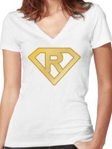 Golden superman letter Women's Fitted V-Neck T-Shirt