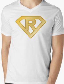Golden superman letter Mens V-Neck T-Shirt