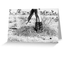 Girl's Legs Wearing Boots in the Desert Greeting Card