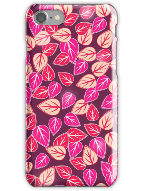 Dark Pink Floral Pattern iPhone Case by kotopes