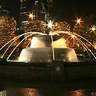 Christmas Fountain With Tree Lights by Stuart Steele