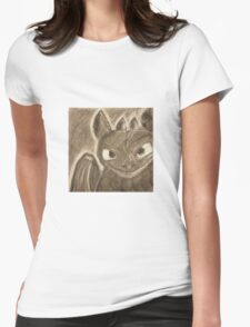 Toothless Charcoal Womens Fitted T-Shirt