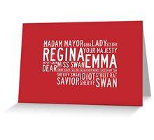 Swan Queen Nicknames (red) Greeting Card
