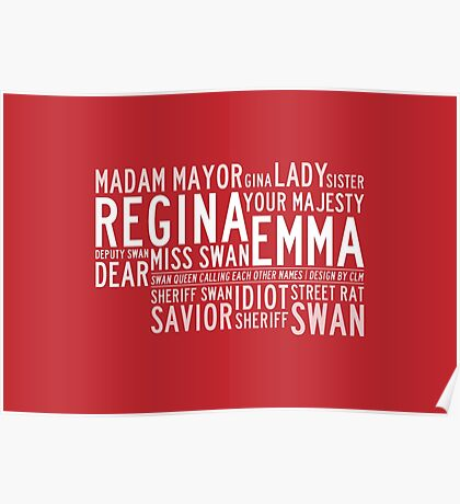 Swan Queen Nicknames (red) Poster