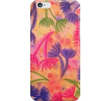COW PARSLEY 3 - Happy Neon Pink Cherry Acid Green Nature Floral Abstract Watercolor Painting Pattern iPhone Case/Skin