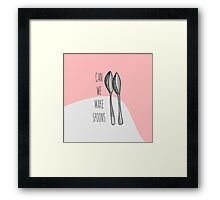 """Pink Funny Cute Hand Drawn """"Can We Make Spoons?""""  Framed Print"""