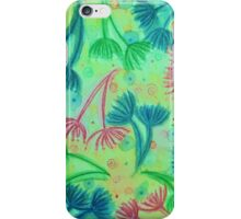 COW PARSLEY - Bright Cherry Acid Green Teal Blue Nature Floral Abstract Watercolor Painting Pattern iPhone Case/Skin