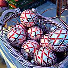 Silver and Red Shimmering Christmas balls by Jane Neill-Hancock