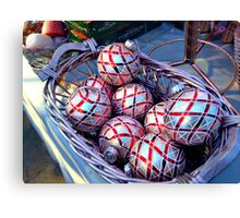 Silver and Red Shimmering Christmas balls Canvas Print