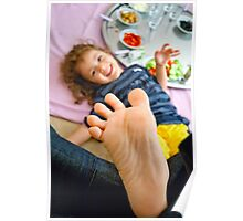 Little Girl Playing Footsie Poster