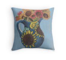 Sunflower Vase Still Life Throw Pillow