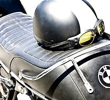 Vintage BMW Cafe Motorcycle with Helmet & Goggles by laurenelisabeth