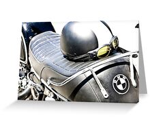 Vintage BMW Cafe Motorcycle with Helmet & Goggles Greeting Card