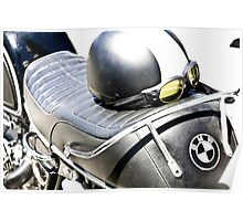 Vintage BMW Cafe Motorcycle with Helmet & Goggles Poster