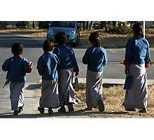 Girls walking to school, Punakha Bhutan Photographic Print