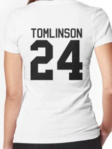 Louis Tomlinson jersey (black text) Women's Fitted V-Neck T-Shirt