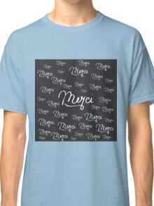"""Merci"" French Quote Black & White Pattern Classic T-Shirt"