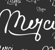 """Merci"" French Quote Black & White Pattern Sticker"