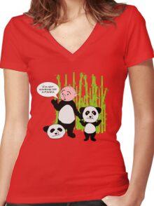 I'm not wanking off a Panda - Karl Pilkington T Shirt Women's Fitted V-Neck T-Shirt