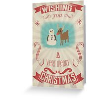 Retro Snowman and Reindeer Christmas Card Greeting Card