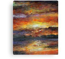 Impressionist Abstract Sunset Sunrise Ocean  Canvas Print