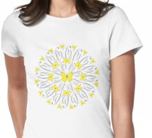 Butterfly Mandala/Yellow Womens Fitted T-Shirt