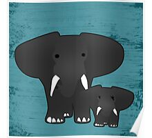 Elephant with a baby Poster