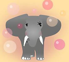 Elephant and aqua bubbles by CatchyLittleArt
