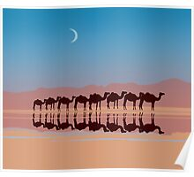 Group of camels walking in sahara Poster