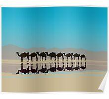 Black camels silhouette in desert Poster