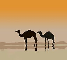 Dromedary camels and a mirage by CatchyLittleArt