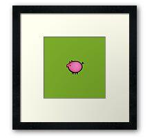 Pink baby piggy on green Framed Print
