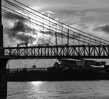 Cincinnati Suspension Bridge Black and White by Mary Carol Story
