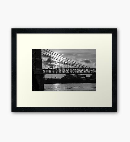 Cincinnati Suspension Bridge Black and White Framed Print
