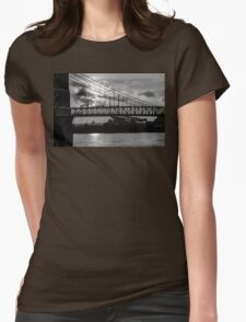 Cincinnati Suspension Bridge Black and White Womens Fitted T-Shirt