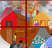 Folk Art Fall Country by ArtChances