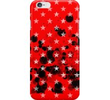 Red miltary starry background with aggressive black spheres iPhone Case/Skin