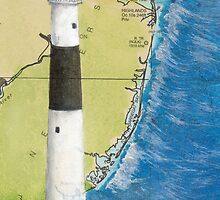 Absecon Lighthouse NJ Nautical Chart Cathy Peek by Cathy Peek