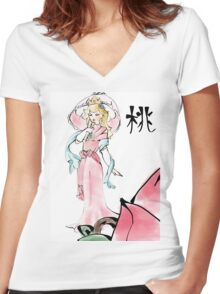Princess Peach of the Mushroom Dynasty  Women's Fitted V-Neck T-Shirt