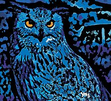 Blue Absract Owl by Yasprints